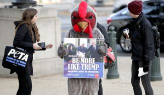 "Activists walk with a person wearing a turkey costume outside Longworth House Office Building on Capitol Hill in Washington, Thursday, Nov. 21, 2019. The PETA activists are asking people to ""Be More Like Trump"" referring to President Donald Trump's pardoning the Thanksgiving turkey. (AP Photo/Julio Cortez)"