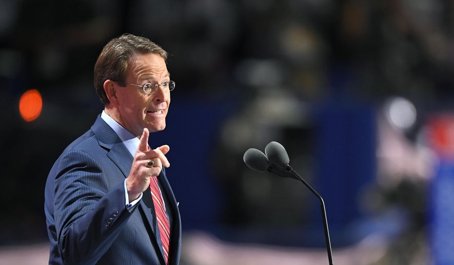In a Thursday, July 21, 2016, file photo, Tony Perkins, president of the Family Research Council, speaks during the final day of the Republican National Convention in Cleveland. (AP Photo/Mark J. Terrill, File)