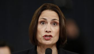Former White House national security aide Fiona Hill testifies before the House Intelligence Committee on Capitol Hill in Washington, Thursday, Nov. 21, 2019, during a public impeachment hearing of President Donald Trump's efforts to tie U.S. aid for Ukraine to investigations of his political opponents. (AP Photo/Andrew Harnik)
