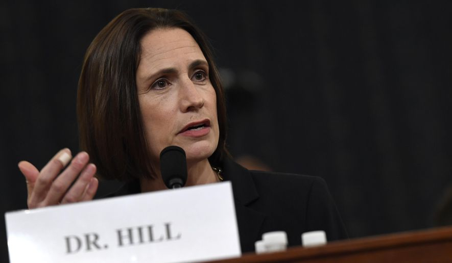 Fiona Hill, a former Russia analyst at the National Security Council, told a House investigative committee Thursday that political considerations played a factor in the Obama administration's approach to Ukraine. (Associated Press)