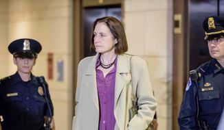 In this Nov. 4, 2019, file photo former White House adviser on Russia, Fiona Hill arrives for a closed-door meeting as part of the House impeachment inquiry into President Donald Trump on Capitol Hill in Washington. (AP Photo/Andrew Harnik, File)