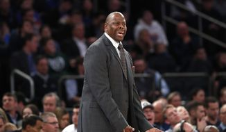 Georgetown head coach Patrick Ewing objects to a call during the first half of an NCAA college basketball game against the Duke in the 2K Empire Classic, Friday, Nov. 22, 2019 in New York. (AP Photo/Kathy Willens) **FILE**