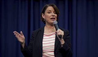 Democratic presidential candidate Sen. Amy Klobuchar, D-Minn., speaks during a campaign stop, Friday, Nov. 22, 2019, in Henniker, N.H. (AP Photo/Mary Schwalm)