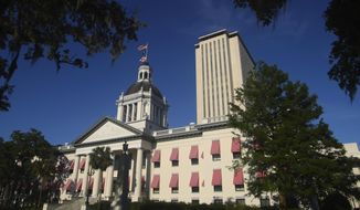 This April 23, 2019, file photo shows the Florida Capitol in Tallahassee, Fla. (AP Photo/Phil Sears, File)  **FILE**