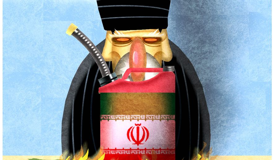 Illustration on the current Iran situation by Alexander Hunter/The Washington Times