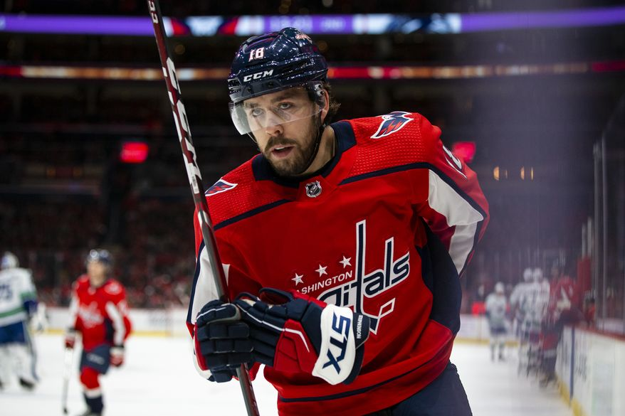Washington Capitals center Chandler Stephenson (18), from Canada, skates during the second period of an NHL hockey game, Saturday, Nov. 23, 2019, in Washington. (AP Photo/Al Drago) ** FILE **