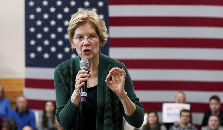 Democratic presidential candidate Sen. Elizabeth Warren, D-Mass., speaks during a campaign stop, Saturday, Nov. 23, 2019, in Manchester, N.H. (AP Photo/Mary Schwalm)