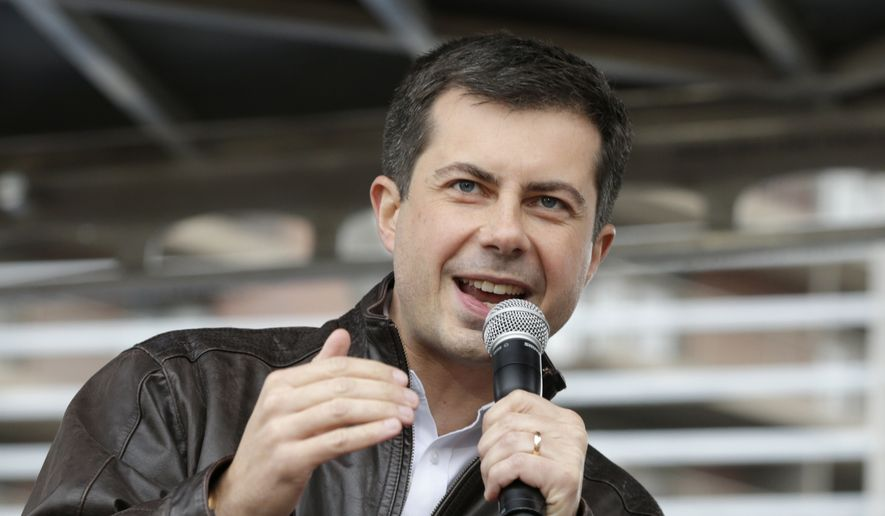 In this Nov. 1, 2019, file photo, Democratic presidential candidate and South Bend Mayor Pete Buttigieg addresses supporters during a rally in Des Moines, Iowa. (AP Photo/Nati Harnik, File)