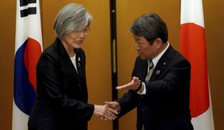 Japan's Foreign Minister Toshimitsu Motegi, right, meets with South Korea's Foreign Minister Kang Kyung-wha before a bilateral meeting during the G20 foreign ministers meeting Saturday, Nov. 23, 2019, in Nagoya, Japan. (AP Photo/Eugene Hoshiko, Pool)