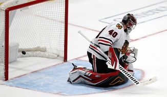 Chicago Blackhawks goaltender Robin Lehner (40) is unable to prevent a goal scored in a shoot-out by Dallas Stars' Joe Pavelski during an NHL hockey game in Dallas, Saturday, Nov. 23, 2019. The Stars won 2-1. (AP Photo/Tony Gutierrez)