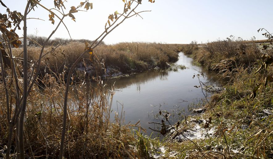 In this Nov. 7, 2019, photo, a creek runs through fields at Lanehaven Farm outside Waterloo in rural Black Hawk County, Iowa. The farm is owned by Blake Hollis, who has been working with the Middle Cedar Partnership to learn about and implement water quality and conservation practices. (Rebecca F. Miller/The Gazette via AP)