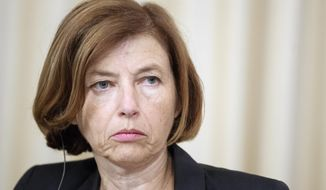 """FILE - In this Sept. 9, 2019 file photo, French Defense Minister Florence Parly attends a news conference in Moscow, Russia. Parly said Saturday, Nov. 23, 2019, that while the Persian Gulf is """"accustomed to the ebb and flow of U.S. involvement,"""" America has not pushed back against Tehran after a summer of tensions sparked by President Donald Trump withdrawing unilaterally from Iran's nuclear deal with world powers. (AP Photo/Pavel Golovkin, File)"""