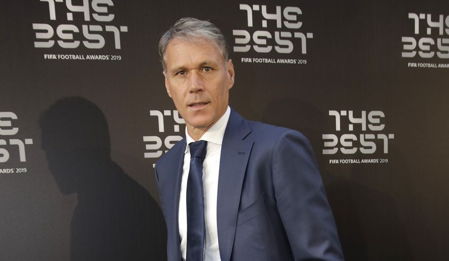 Former soccer player Marco Van Basten arrives to attend the Best FIFA soccer awards, in Milan's La Scala theater, northern Italy, Monday, Sept. 23, 2019. Netherlands defender Virgil van Dijk is up against five-time winners Cristiano Ronaldo and Lionel Messi for the FIFA best player award and United States forward Megan Rapinoe is the favorite for the women's award. (AP Photo/Luca Bruno)