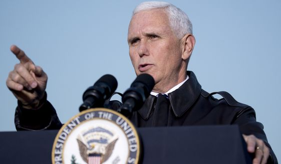 Vice President Mike Pence speaks to troops at Erbil International Airport in Erbil, Iraq, on Saturday, Nov. 23, 2019. (AP Photo/Andrew Harnik) ** FILE **