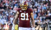 Washington Redskins outside linebacker Ryan Kerrigan looks on during the second half of an NFL football game against the Detroit Lions, Sunday, Nov. 24, 2019, in Landover, Md. (AP Photo/Mark Tenally)