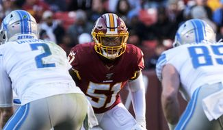 Washington Redskins linebacker Shaun Dion Hamilton (51) looks across the line of scrimmage during an NFL football game against the Detroit Lions, Sunday, Nov. 24, 2019, in Landover, Md. (AP Photo/Mark Tenally) ** FILE **