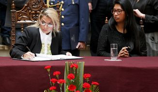 Bolivia's interim President Jeanine Anez, left, signs into law a bill to hold new elections beside the President of the Senate Monica Eva Copa in La Paz, Bolivia, Sunday, Nov. 24, 2019. Bolivia is struggling to stabilize after weeks of anti-government protests and violence in which at least 30 people have been killed. Former president Evo Morales resigned on Nov. 10 after an election that the opposition said was rigged. (AP Photo/Juan Karita)