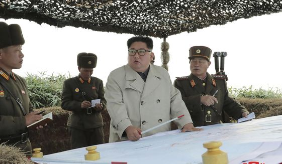 """In this undated photo provided on Monday, Nov. 25, 2019, by the North Korean government, North Korean leader Kim Jong Un, center,  inspects a military unit on Changrin Islet in North Korea. Independent journalists were not given access to cover the event depicted in this image distributed by the North Korean government. The content of this image is as provided and cannot be independently verified. Korean language watermark on image as provided by source reads: """"KCNA"""" which is the abbreviation for Korean Central News Agency. (Korean Central News Agency/Korea News Service via AP)"""