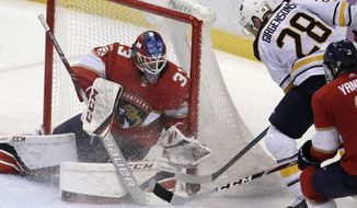 Buffalo Sabres center Zemgus Girgensons (28) scores a goal against Florida Panthers goaltender Sam Montembeault during the third period of an NHL hockey game, Sunday, Nov. 24, 2019, in Sunrise, Fla. (AP Photo/Lynne Sladky)