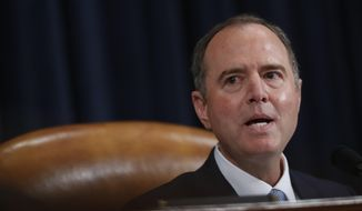 House Intelligence Committee Chairman Adam Schiff, D-Calif., give final remarks during a hearing where former White House national security aide Fiona Hill, and David Holmes, a U.S. diplomat in Ukraine, testified before the House Intelligence Committee on Capitol Hill in Washington, Thursday, Nov. 21, 2019, during a public impeachment hearing of President Donald Trump's efforts to tie U.S. aid for Ukraine to investigations of his political opponents. (AP Photo/Andrew Harnik)