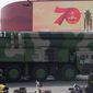 Dong Feng 41, or DF-41, is an intercontinental ballistic missile with a range of 9,300 miles is China's longest-range weapon that could reach the U.S. in 30 minutes. (ASSOCIATED PRESS)