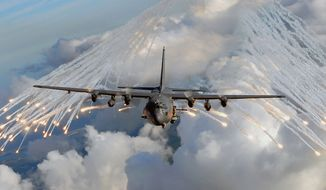 AC-130 H/U GUNSHIP                                                                                        An AC-130U gunship from the 4th Special Operations Squadron, jettisons flares over an area near Hurlburt Field, Fla., Aug. 20, 2008. The flares are a countermeasure for heat-seeking missiles that may be launched at the aircraft during real world missions. (U.S. Air Force photo by Senior Airman Julianne Showalter)
