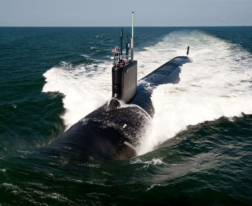 VIRGINIA CLASS ATTACK SUBMARINE — The Virginia-class attack submarine USS California (SSN 781) underway during sea trials. (U.S. Navy photo by Chris Oxley/Released) ** FILE **