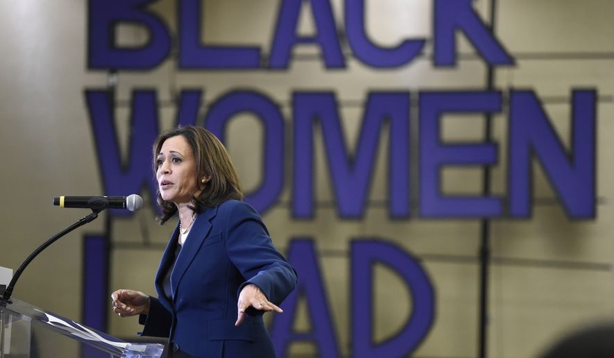 "Democratic presidential candidate Sen. Kamala Harris, D-Calif., speaks to a crowd during a ""Black Women's Weekend of Action"" event at Benedict College, on Saturday, Nov. 23, 2019, in Columbia, S.C. (AP Photo/Meg Kinnard)"