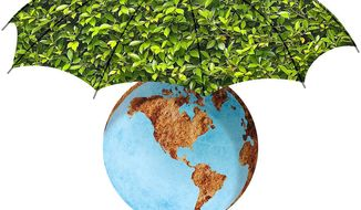 Earth Umbrella Illustration by Greg Groesch/The Washington Times