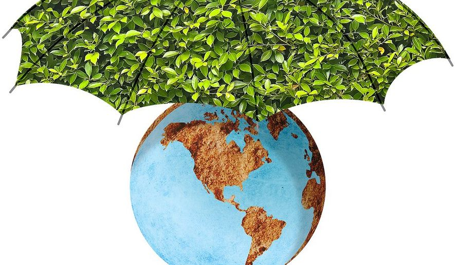 Earth Umbrella Illustration by Greg Groesch/The Washington Times