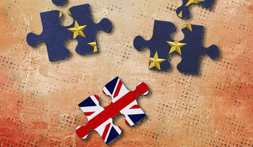 Brexit Pieces Illustration by Greg Groesch/The Washington Times