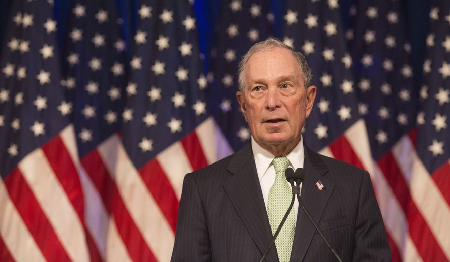 Former New York City Mayor Michael Bloomberg, a Democratic presidential candidate, makes remarks to the media at the Hilton Hotel on his first campaign stop in Norfolk, Va., on Monday, Nov. 25, 2019. (AP Photo/Bill Tiernan)
