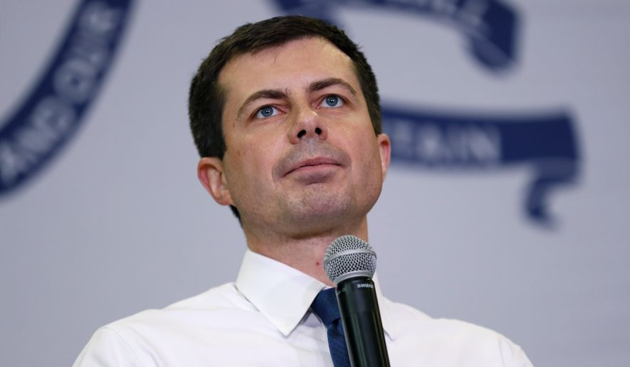 Democratic presidential candidate South Bend, Ind., Mayor Pete Buttigieg speaks during a town hall meeting, Monday, Nov. 25, 2019, in Creston, Iowa. (AP Photo/Charlie Neibergall)