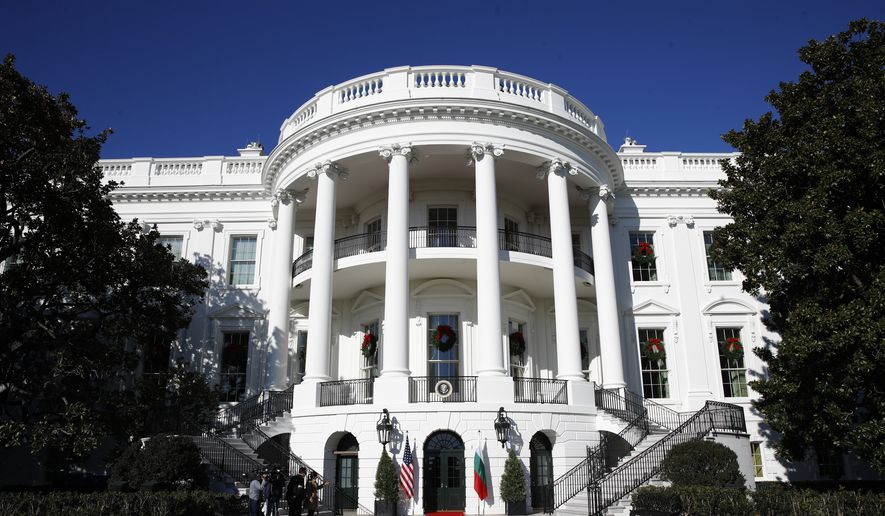 The South side for the White House before President Donald Trump welcomes Bulgarian Prime Minister Boyko Borissov to the White House, Monday, Nov. 25, 2019, in Washington. (AP Photo/Patrick Semansky)