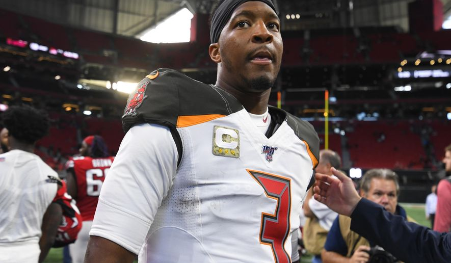 Tampa Bay Buccaneers quarterback Jameis Winston (3) leaves the field after an NFL football game against the Atlanta Falcons, Sunday, Nov. 24, 2019, in Atlanta. The Tampa Bay Buccaneers won 35-22. (AP Photo/John Amis)