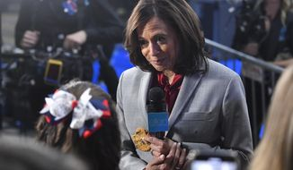 Democratic presidential candidate Sen. Kamala Harris, D-Calif., listens to a question in the spin room after a Democratic presidential primary debate, Thursday, Nov. 21, 2019, in Atlanta. (AP Photo/John Amis)