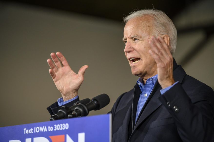 Democratic presidential candidate former Vice President Joe Biden speaks to local residents, Saturday, Nov. 23, 2019, in Des Moines, Iowa. (AP Photo/Justin Hayworth)