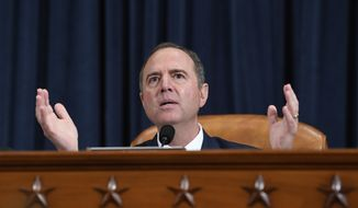 House Intelligence Committee Chairman Adam Schiff, D-Calif., gives final remarks during a hearing where former White House national security aide Fiona Hill, and David Holmes, a U.S. diplomat in Ukraine, testified before the House Intelligence Committee on Capitol Hill in Washington, Thursday, Nov. 21, 2019, during a public impeachment hearing of President Donald Trump's efforts to tie U.S. aid for Ukraine to investigations of his political opponents.(AP Photo/Susan Walsh)