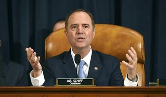 House Intelligence Committee Chairman Adam Schiff, D-Calif., gives final remarks during a hearing where former White House national security aide Fiona Hill, and David Holmes, a U.S. diplomat in Ukraine, testified before the House Intelligence Committee on Capitol Hill in Washington, Thursday, Nov. 21, 2019, during a public impeachment hearing of President Donald Trump's efforts to tie U.S. aid for Ukraine to investigations of his political opponents. (Bill O'Leary/Pool Photo via AP)