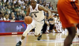 Michigan State guard Cassius Winston (5) dribbles through the Virginia Tech defense during the first half of an NCAA college basketball game Monday, Nov. 25, 2019, in Lahaina, Hawaii. (AP Photo/Marco Garcia)