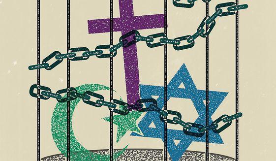 Illustration on religious freedom by Linas Garsys/The Washington Times