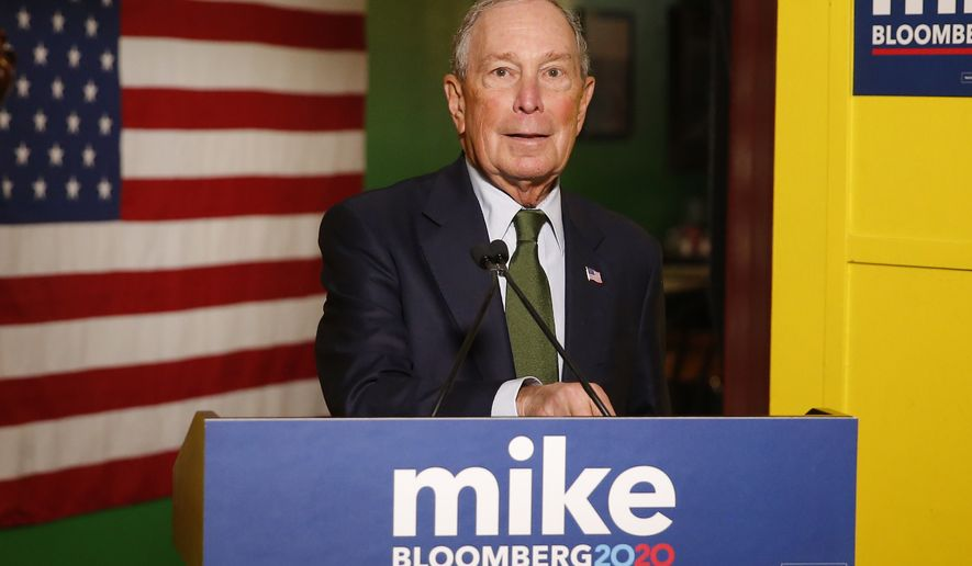 Mike Bloomberg speaks to the media, Tuesday, Nov. 26, 2019 in Phoenix. Billionaire Michael Bloomberg, a late entrant in the already crowded race for the Democratic presidential nomination, was set Tuesday to file to run in Arizona's presidential primary. (AP Photo/Rick Scuteri)