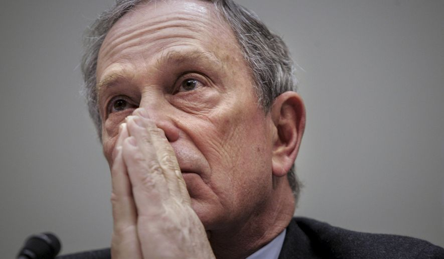 This photo from Tuesday, March 28, 2006 , shows New York Mayor Michael Bloomberg listening as he testifies about gun control before Congress in Washington. Mr. Bloomberg, a Democratic candidate for mayor, is on the defensive about his support of sin taxes on vices like smoking and sugary drinks, which disproportionately impact lower-income Americans. The former mayor says such taxes help encourage Americans to quit or cut back on those vices, and hence promotes their health. (AP Photo/Gerald Herbert, File)