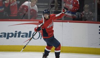 Washington Capitals center Lars Eller (20), of Denmark, celebrates his goal during the third period of an NHL hockey game against the Florida Panthers, Wednesday, Nov. 27, 2019, in Washington. The Capitals won 4-3. (AP Photo/Nick Wass)