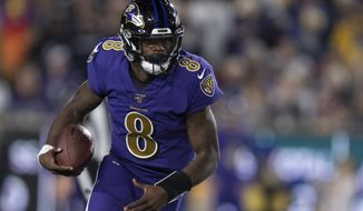 Baltimore Ravens quarterback Lamar Jackson in an NFL football game against the Los Angeles Rams Monday, Nov. 25, 2019, in Los Angeles. (AP Photo/Kyusung Gong) ** FILE **
