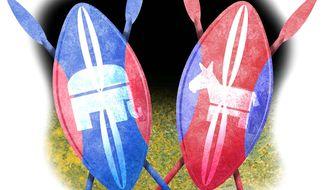 Illustration on Democrat/Republican tribalism by Alexander Hunter/The Washington Times