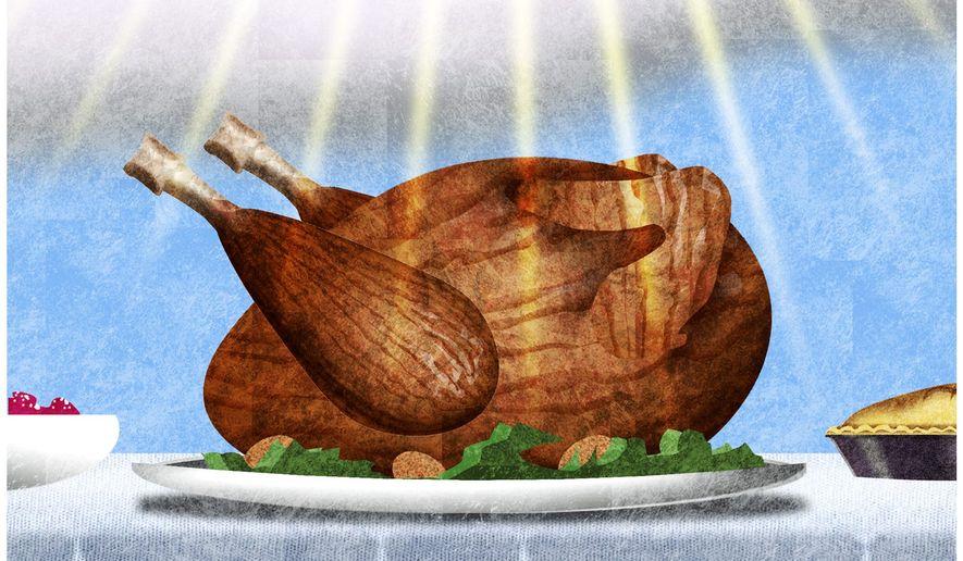 Illustration on gratitude at Thanksgiving by Alexander Hunter/The Washington Times