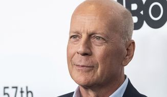 """Bruce Willis attends the """"Motherless Brooklyn"""" premiere during the 57th New York Film Festival at Alice Tully Hall on Friday, Oct. 11, 2019, in New York. (Photo by Charles Sykes/Invision/AP)"""
