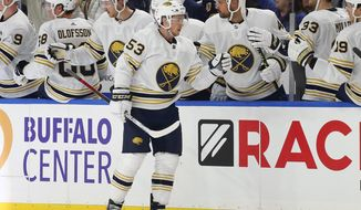 Buffalo Sabres forward Jeff Skinner (53) celebrates his goal during the second period of an NHL hockey game against the Toronto Maple Leafs, Friday, Nov. 29, 2019, in Buffalo, N.Y. (AP Photo/Jeffrey T. Barnes)