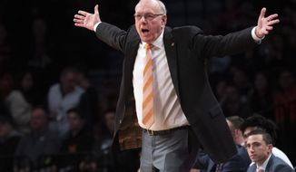 Syracuse head coach Jim Boeheim reacts during the first half of an NCAA college basketball game against Penn State in the consolation round of the NIT Season Tip-Off tournament, Friday, Nov. 29, 2019, in New York. (AP Photo/Mary Altaffer)